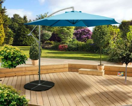 Pagoda 3m Over Hanging Parasol - Blue